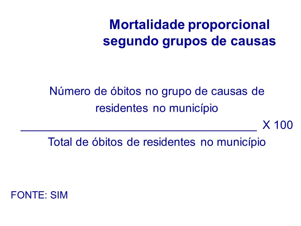 Mortalidade proporcional segundo grupos de causas