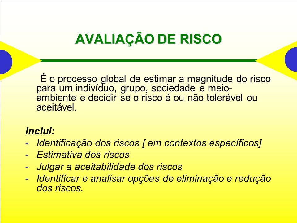 AVALIAÇÃO DE RISCO Inclui:
