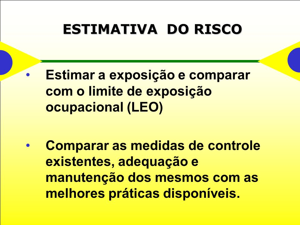 ESTIMATIVA DO RISCO Estimar a exposição e comparar com o limite de exposição ocupacional (LEO)