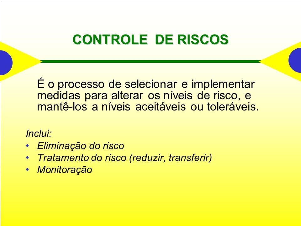 CONTROLE DE RISCOS É o processo de selecionar e implementar medidas para alterar os níveis de risco, e mantê-los a níveis aceitáveis ou toleráveis.