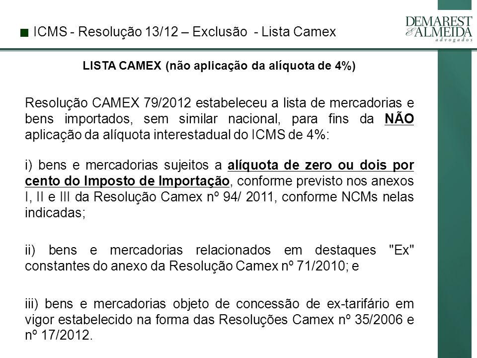 LISTA CAMEX (não aplicação da alíquota de 4%)
