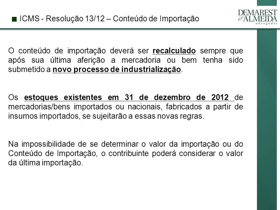 ICMS - Resolução 13/12 – Conteúdo de Importação
