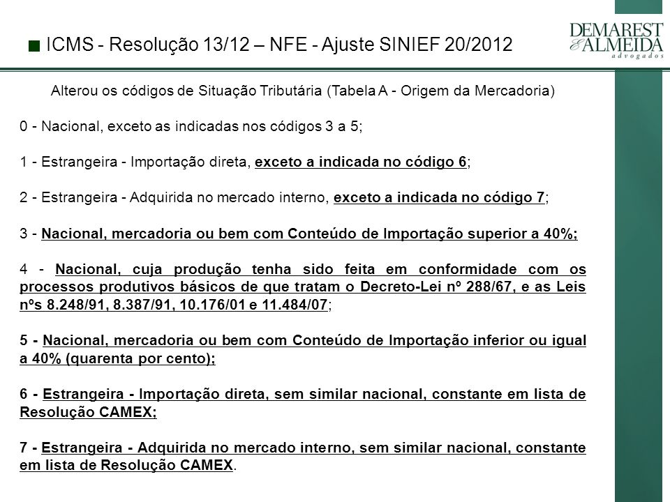 ICMS - Resolução 13/12 – NFE - Ajuste SINIEF 20/2012
