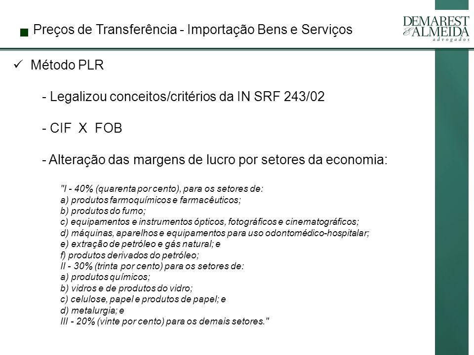 Preços de Transferência - Importação Bens e Serviços