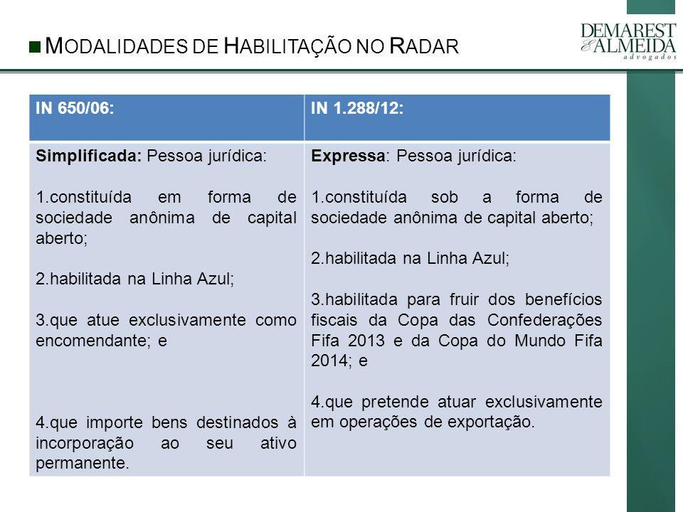 MODALIDADES DE HABILITAÇÃO NO RADAR
