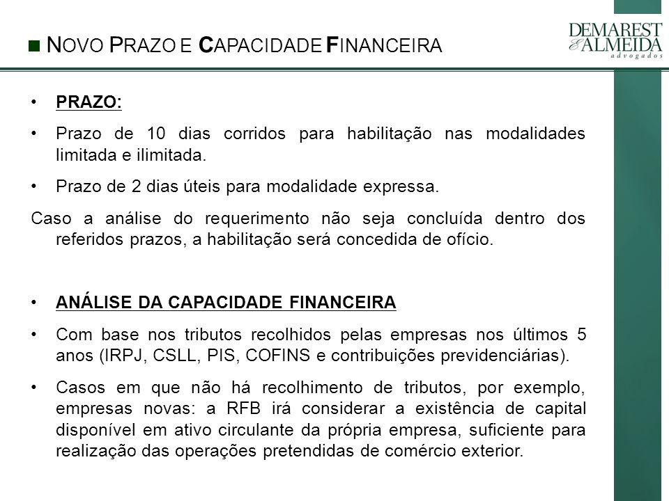 NOVO PRAZO E CAPACIDADE FINANCEIRA