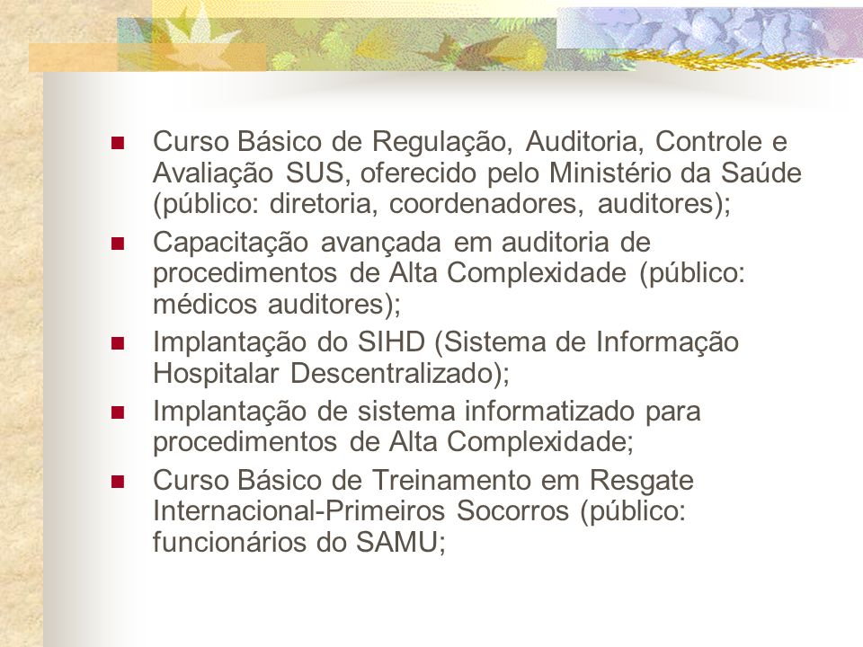 Curso Básico de Regulação, Auditoria, Controle e Avaliação SUS, oferecido pelo Ministério da Saúde (público: diretoria, coordenadores, auditores);