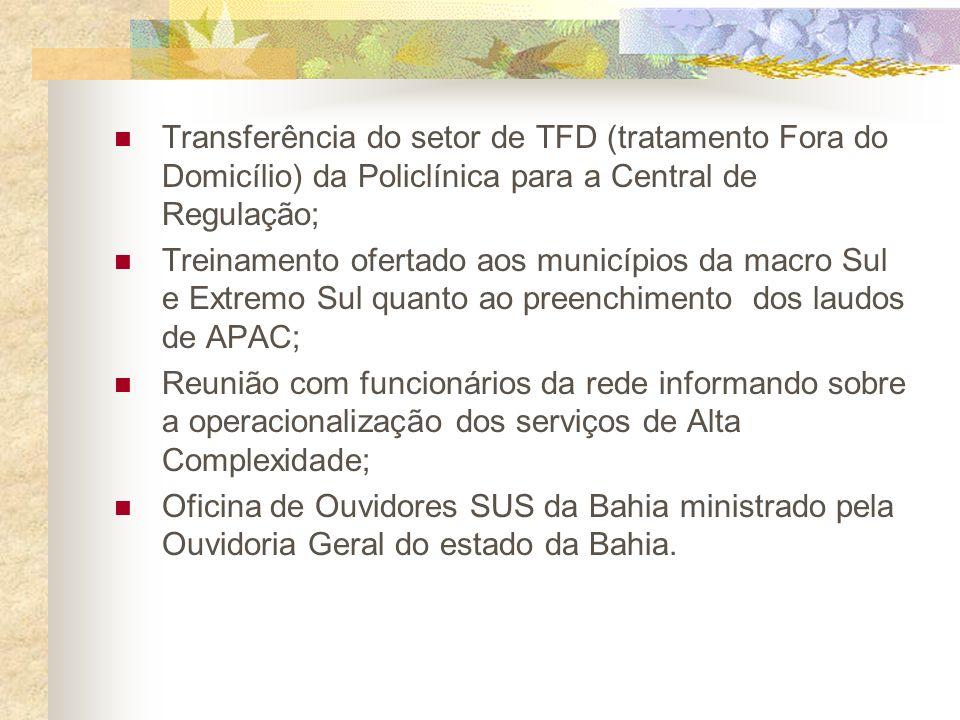 Transferência do setor de TFD (tratamento Fora do Domicílio) da Policlínica para a Central de Regulação;