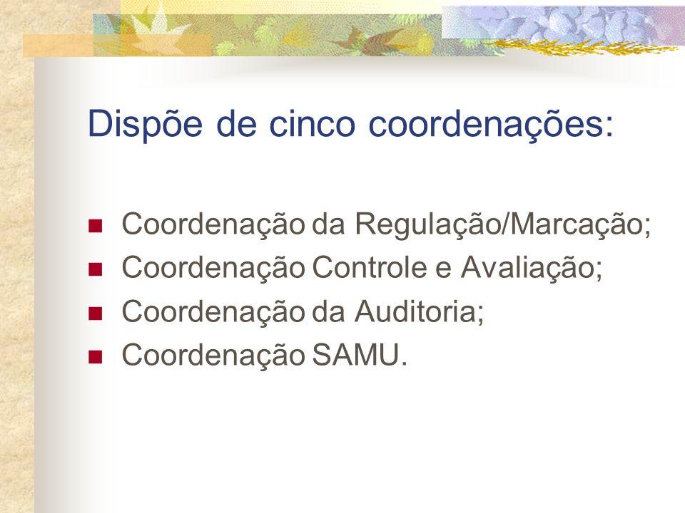 Dispõe de cinco coordenações: