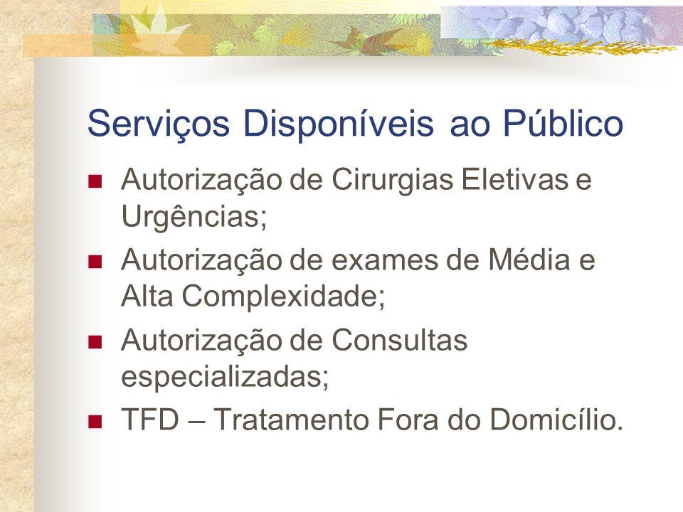 Serviços Disponíveis ao Público