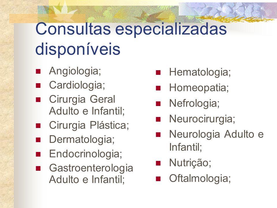 Consultas especializadas disponíveis