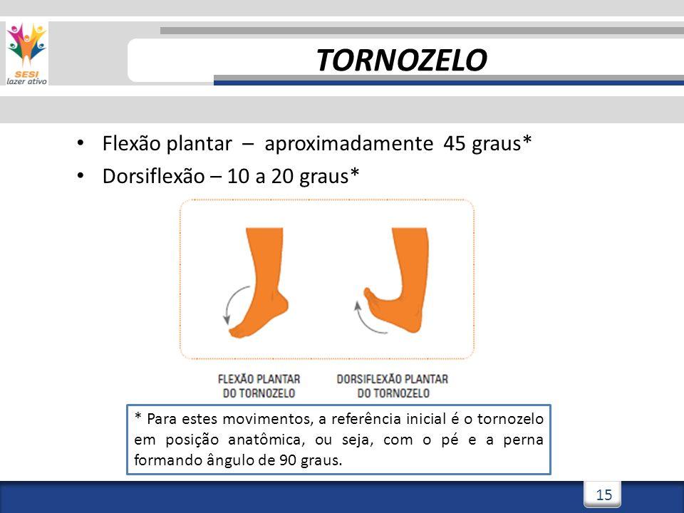 TORNOZELO Flexão plantar – aproximadamente 45 graus*