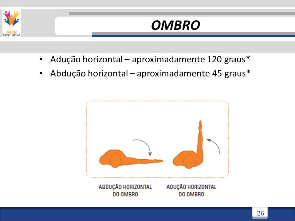 OMBRO Adução horizontal – aproximadamente 120 graus*