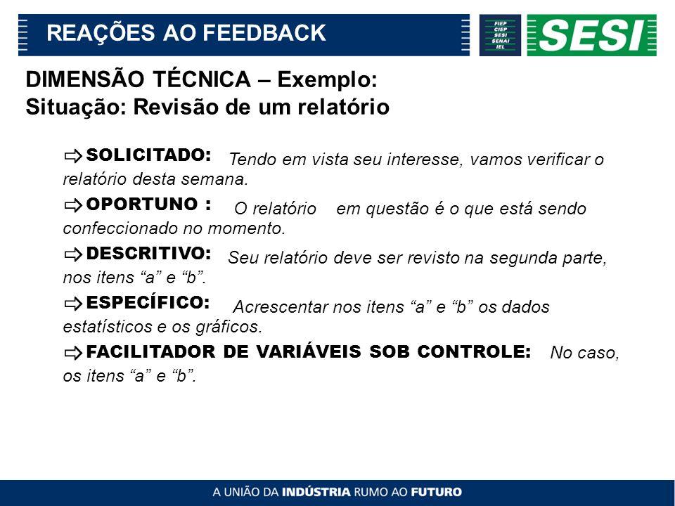 _ REAÇÕES AO FEEDBACK DIMENSÃO TÉCNICA – Exemplo: