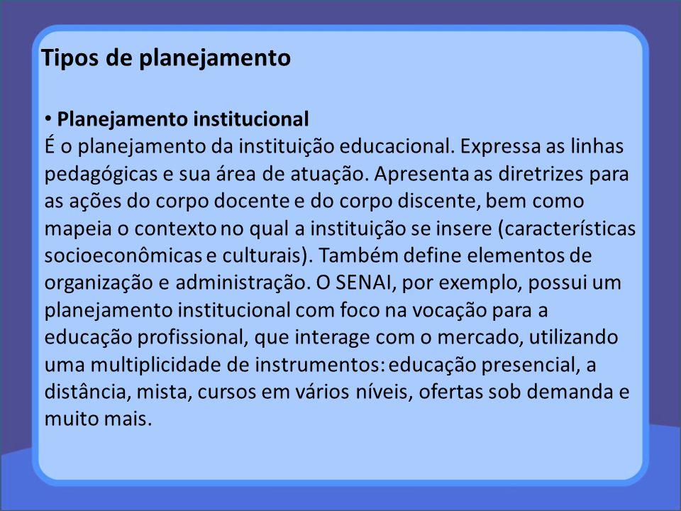 Tipos de planejamento Planejamento institucional