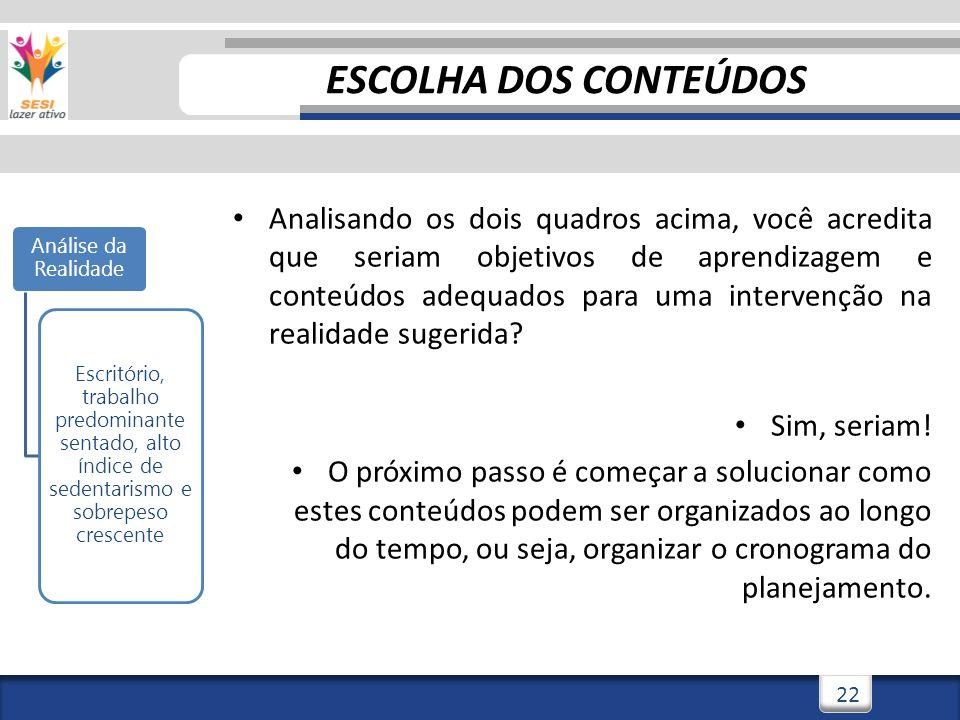 ESCOLHA DOS CONTEÚDOS