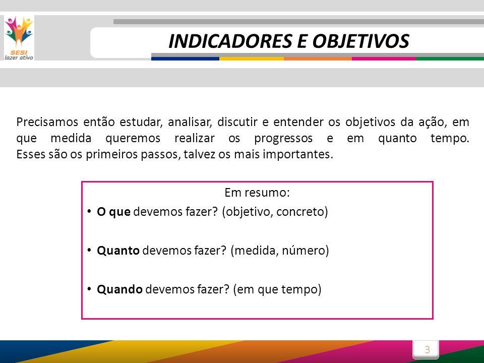 INDICADORES E OBJETIVOS