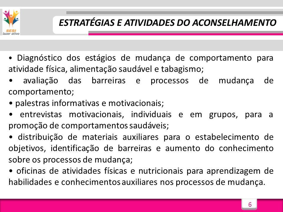 ESTRATÉGIAS E ATIVIDADES DO ACONSELHAMENTO