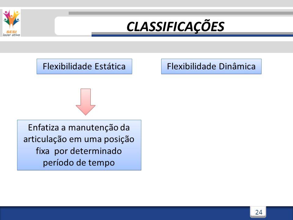 CLASSIFICAÇÕES Flexibilidade Estática Flexibilidade Dinâmica