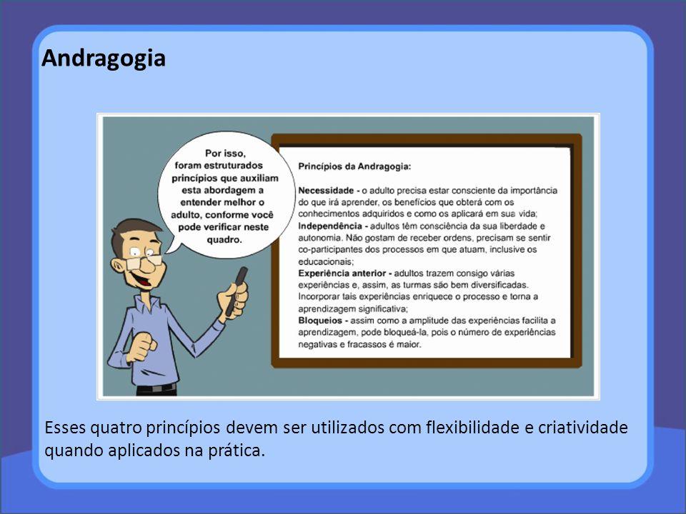 Andragogia Esses quatro princípios devem ser utilizados com flexibilidade e criatividade quando aplicados na prática.