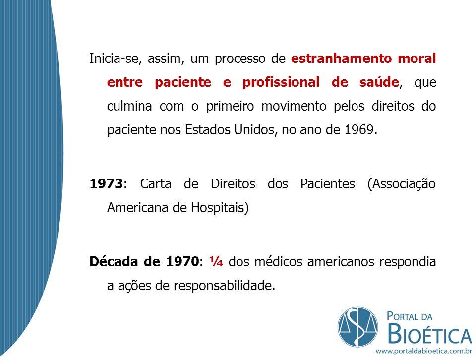 Inicia-se, assim, um processo de estranhamento moral entre paciente e profissional de saúde, que culmina com o primeiro movimento pelos direitos do paciente nos Estados Unidos, no ano de 1969.