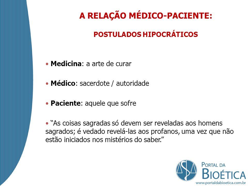 A RELAÇÃO MÉDICO-PACIENTE: POSTULADOS HIPOCRÁTICOS