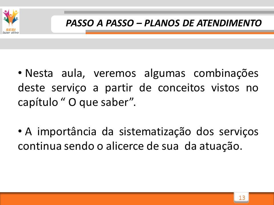 PASSO A PASSO – PLANOS DE ATENDIMENTO