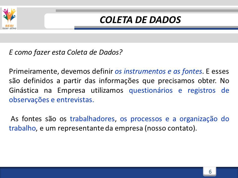 COLETA DE DADOS E como fazer esta Coleta de Dados