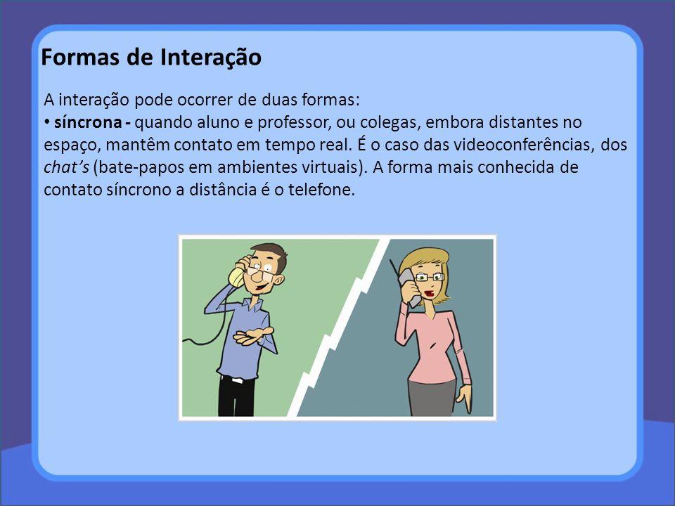 Formas de Interação A interação pode ocorrer de duas formas: