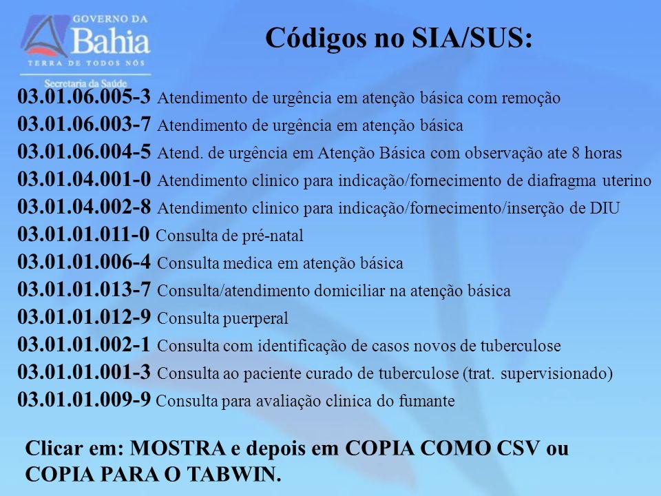 Códigos no SIA/SUS: 03.01.06.005-3 Atendimento de urgência em atenção básica com remoção. 03.01.06.003-7 Atendimento de urgência em atenção básica.