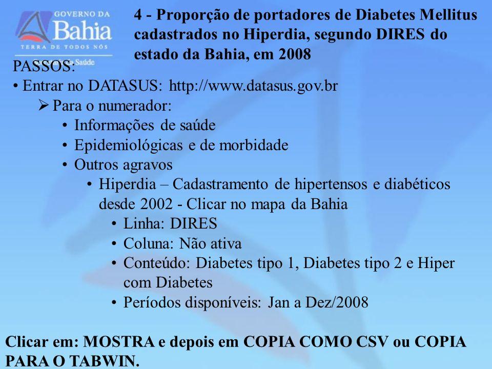 4 - Proporção de portadores de Diabetes Mellitus cadastrados no Hiperdia, segundo DIRES do estado da Bahia, em 2008