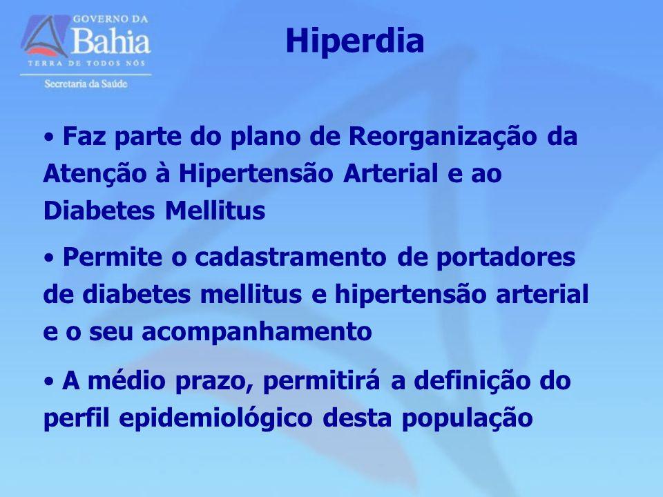 Hiperdia Faz parte do plano de Reorganização da Atenção à Hipertensão Arterial e ao Diabetes Mellitus.