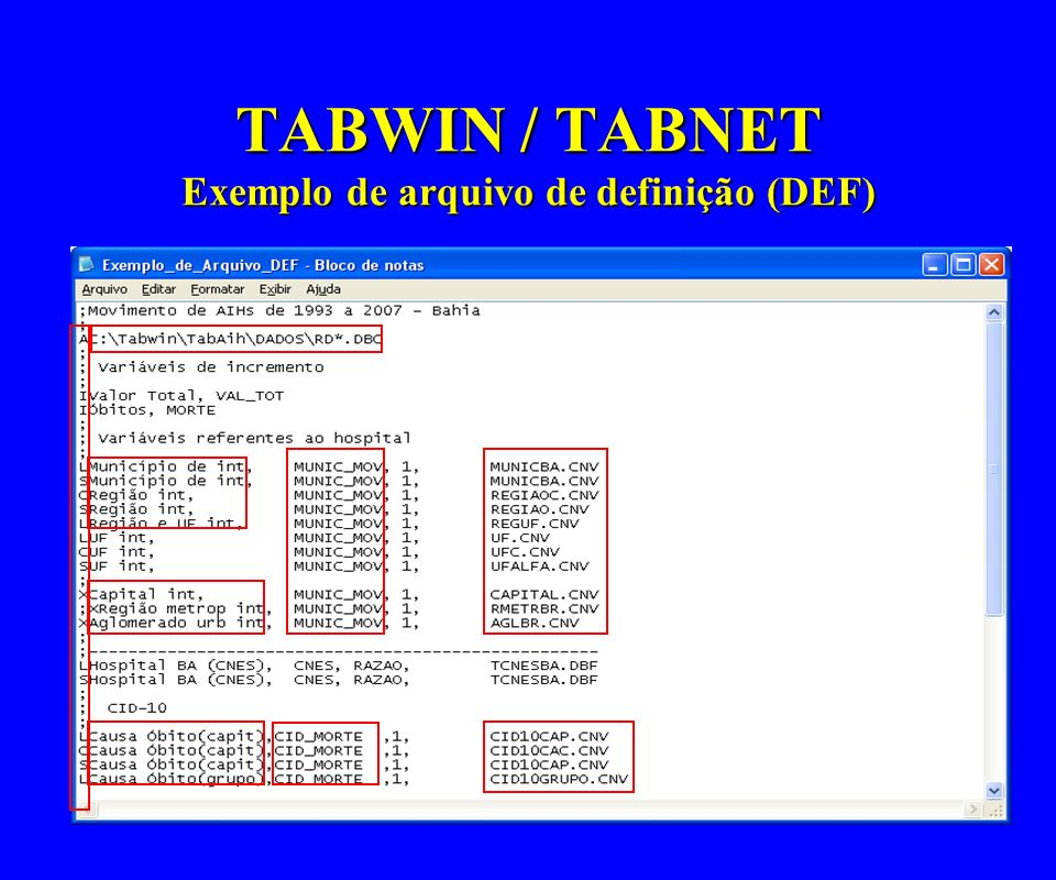 TABWIN / TABNET Exemplo de arquivo de definição (DEF)