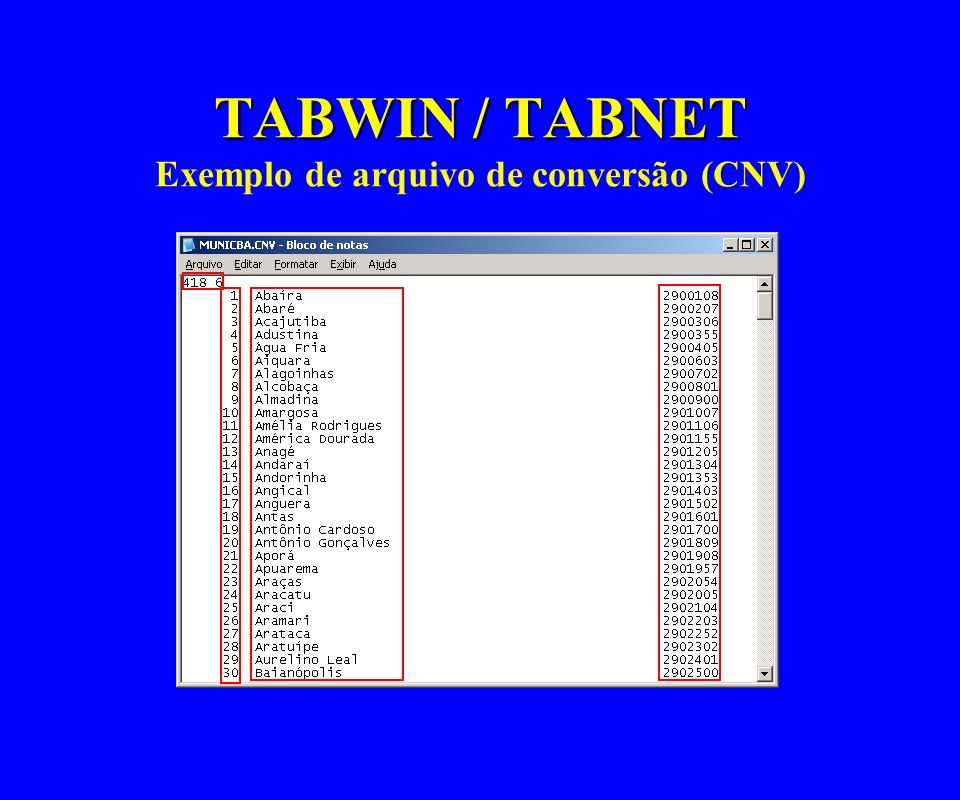 TABWIN / TABNET Exemplo de arquivo de conversão (CNV)