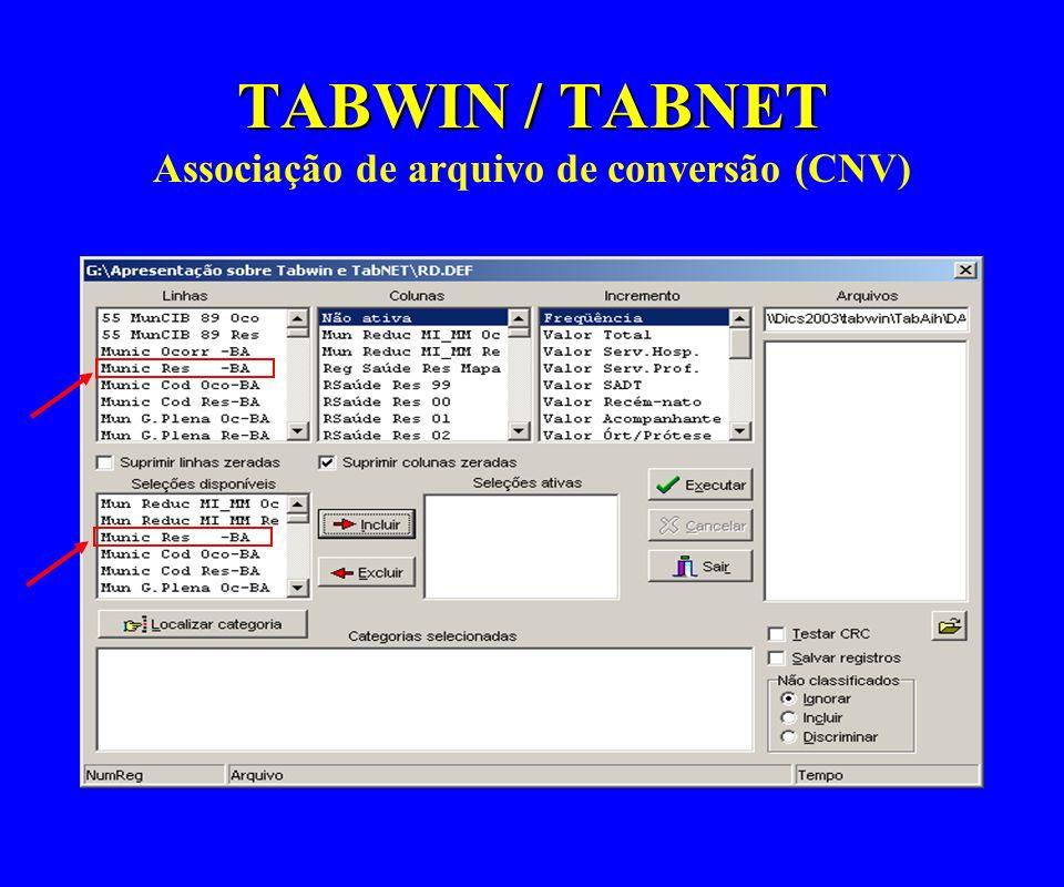 TABWIN / TABNET Associação de arquivo de conversão (CNV)