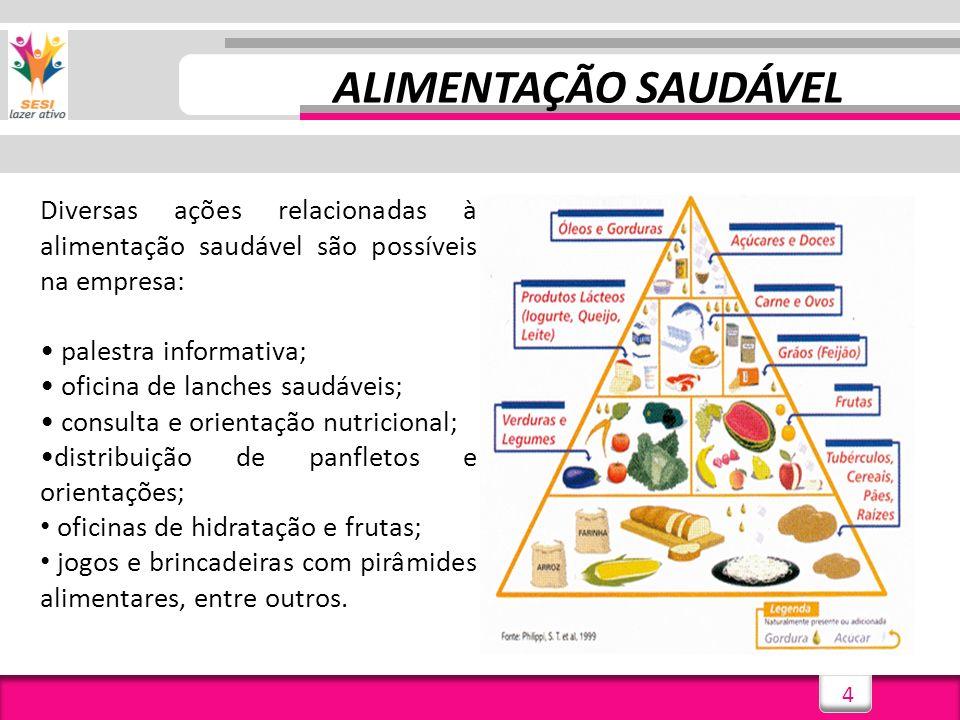 ALIMENTAÇÃO SAUDÁVEL Diversas ações relacionadas à alimentação saudável são possíveis na empresa: • palestra informativa;