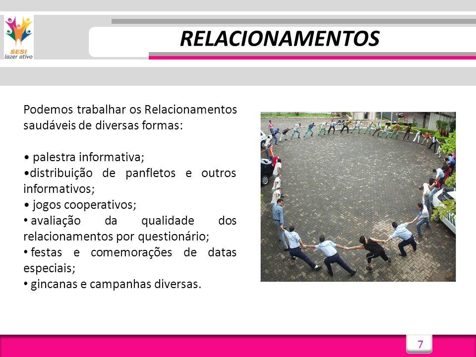 RELACIONAMENTOS Podemos trabalhar os Relacionamentos saudáveis de diversas formas: • palestra informativa;