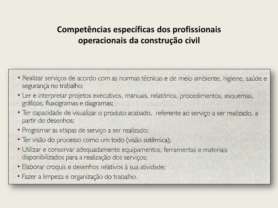 Competências específicas dos profissionais