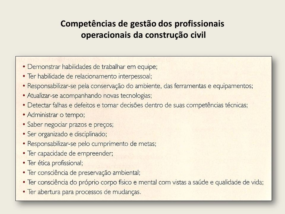 Competências de gestão dos profissionais