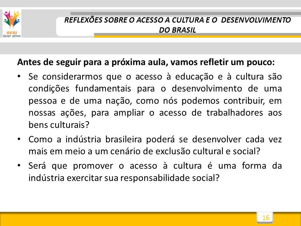 REFLEXÕES SOBRE O ACESSO A CULTURA E O DESENVOLVIMENTO DO BRASIL