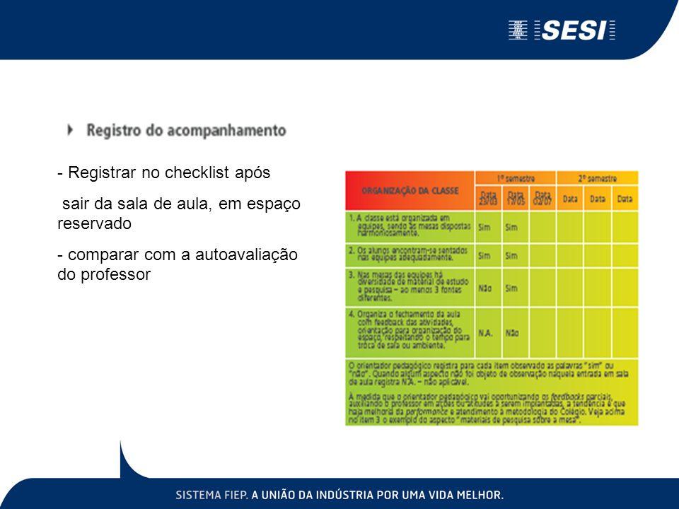 Registrar no checklist após