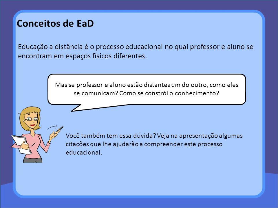 Conceitos de EaD Educação a distância é o processo educacional no qual professor e aluno se encontram em espaços físicos diferentes.