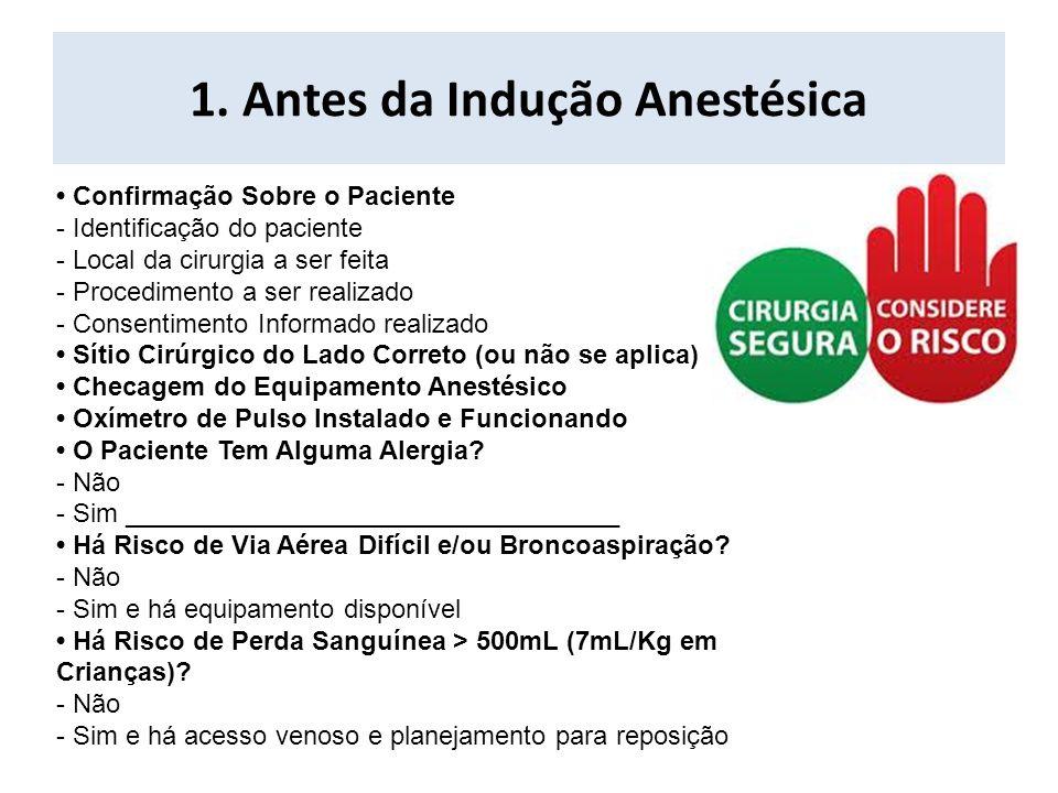 1. Antes da Indução Anestésica