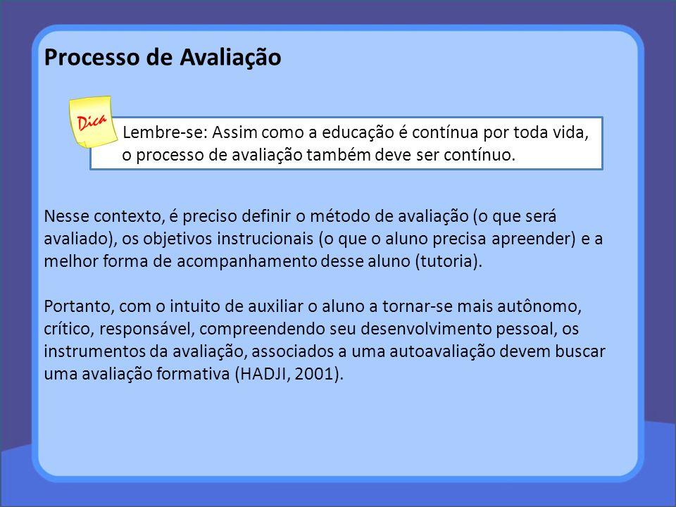 Processo de Avaliação Lembre-se: Assim como a educação é contínua por toda vida, o processo de avaliação também deve ser contínuo.
