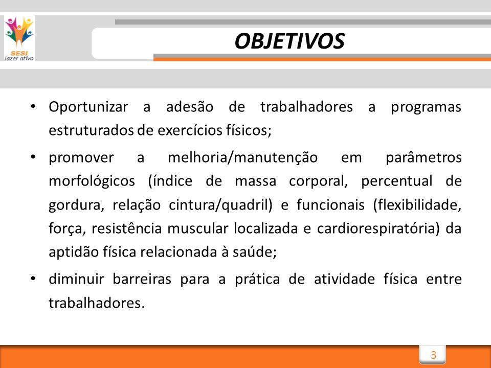 OBJETIVOS Oportunizar a adesão de trabalhadores a programas estruturados de exercícios físicos;