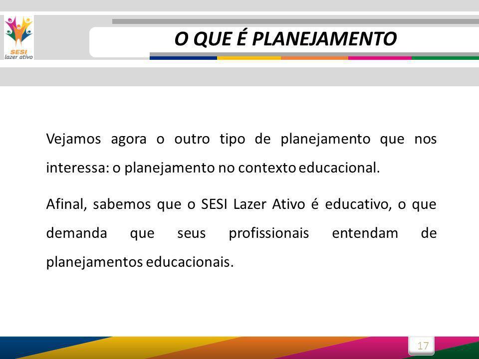 O QUE É PLANEJAMENTO Vejamos agora o outro tipo de planejamento que nos interessa: o planejamento no contexto educacional.