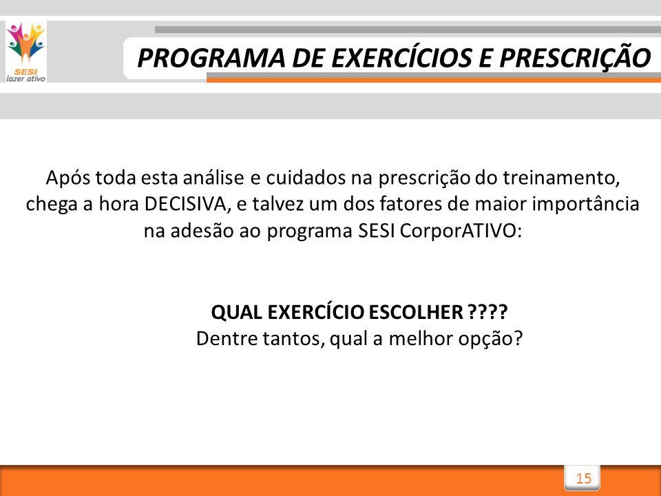 PROGRAMA DE EXERCÍCIOS E PRESCRIÇÃO QUAL EXERCÍCIO ESCOLHER