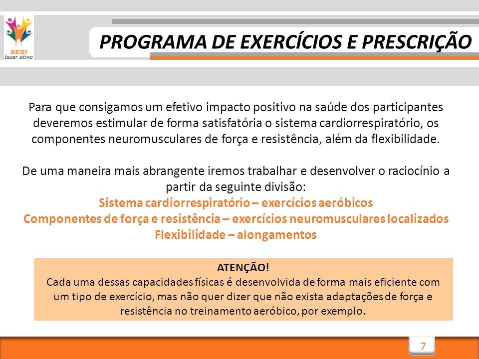 PROGRAMA DE EXERCÍCIOS E PRESCRIÇÃO