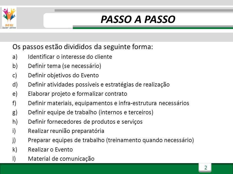PASSO A PASSO Os passos estão divididos da seguinte forma: