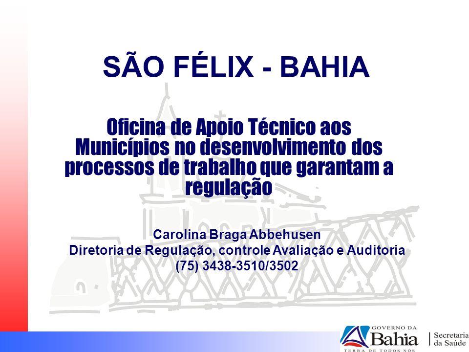 SÃO FÉLIX - BAHIA Oficina de Apoio Técnico aos Municípios no desenvolvimento dos processos de trabalho que garantam a regulação.